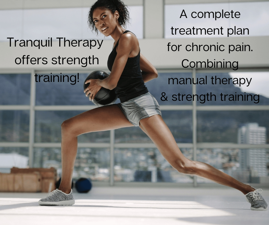 a black woman doing a lunge with weight looking at the camera. text reads Strength training and chronic pain treatment plan